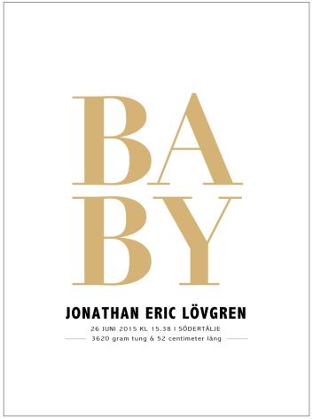BABY FÖDELSETAVLA