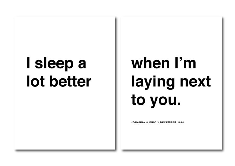 PARPOSTERS - I SLEEP A LOT BETTER KÄRLEKSTAVLA 2 ST POSTERS