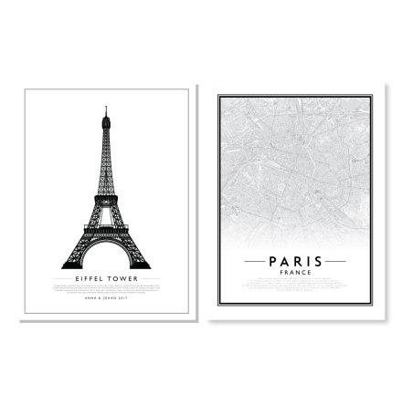 PARPOSTERS - EIFFELTORNET GRAFISK POSTER & CITYMAP PARIS 2 ST POSTERS
