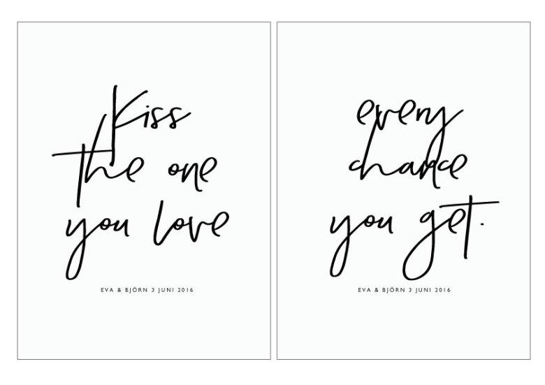 Artikelbild  KISS THE ONE YOU LOVE - BRÖLLOPSTAVLA PARPOSTERS 2 ST POSTERS  A4 f87b1a895fc83