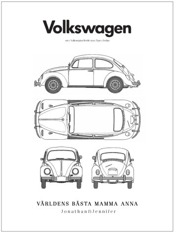 BEETLE BLUEPRINT BILPOSTER