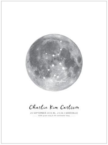 Namntavladoptavla Med Stjärntecken I Måne