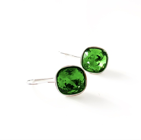 Örhängen fyrkantiga med Swarowski® kristaller Magda Fern Green