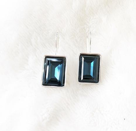 Örhängen med Swarowski® kristaller Charlie Rektangel Night Blue