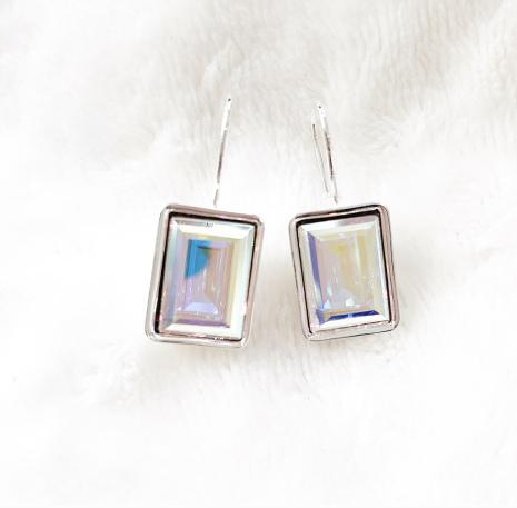 Örhängen med Swarowski® kristaller Charlie Rektangel Rainbow