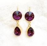 Örhängen med Swarowski® kristaller Double Crystal Purple