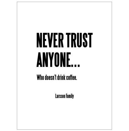 NEVER TRUST ANYONE KAFFEPOSTER
