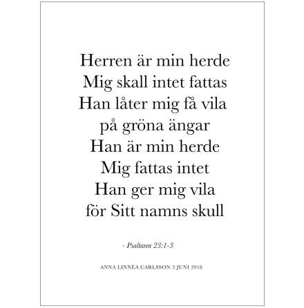 BIBELVERS - HERREN ÄR MIN HERDE